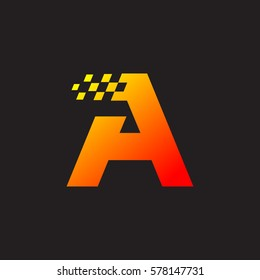 Letter A logo, fast speed, moving, delivery, Digital and Technology for your Corporate identity