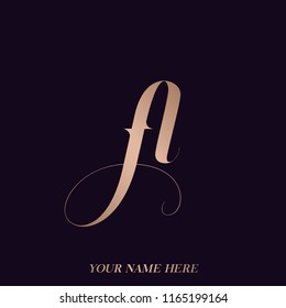Letter A logo and also FL monogram.Elegant icon with letter A, functioning like letter f and letter l, too. Rose gold metallic color initials isolated on dark background.Typographic elements.