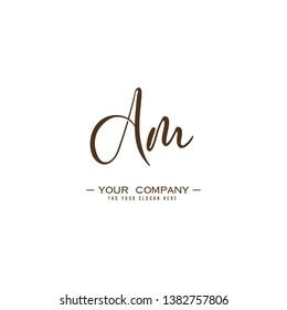Letter Am Logo. Initial Letter Design Vector Luxury Colors