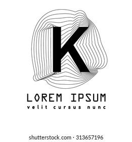 Letter Logo K. Alphabet design element . Geometric ABC concept type as logotype. Typography icon line art. Moden