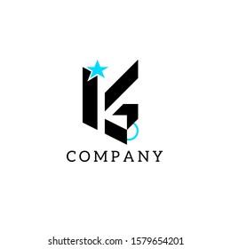 Letter Logo KG vector template in black