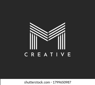 letter logo M uppercase, connection of lines vector illustration template. Abstract letter M logotype. Modern emblem symbol.Luxury,moving and dynamic design for your corporate identity.