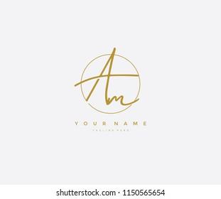 Letter AM Logo Manual Elegant Minimalist Signature Logotype