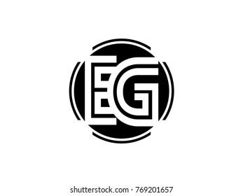 EG letter logo round black
