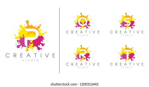 Letter logo set.  Letter design for company name - P, Q, R, S, T.  Set of letter at colorful paint splash background.