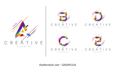 Letter logo set. Letter design for company name - A, B, C, D, E.  Abstract letters design, made of various geometric shapes in color.