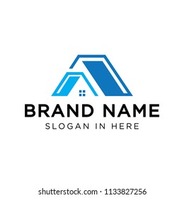 A letter logo shaped home roof. cool logo for real estate, roofing construction company. logo download