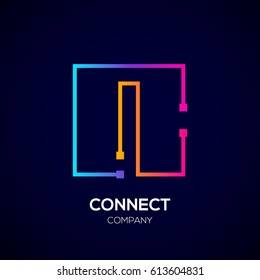 Letter I logo, Square shape, Colorful, Technology and digital abstract dot connection