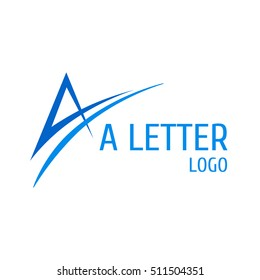 Letter A Logo with Swoosh. Vector logo with the stylized letter A with swoosh shape.