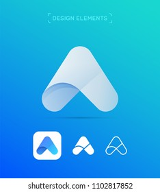 Letter A logo template. Material design, origami flat and line art style