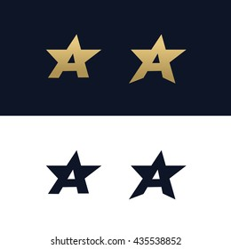 Letter A logo template with Star design element. Vector illustration. Corporate branding identity
