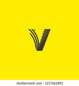 letter logo v lowercase, mutation of lines editable vector