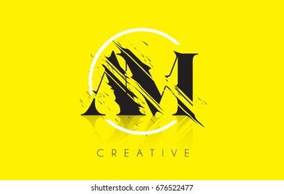 AM Letter Logo with Vintage Grundge Cut Design. Destroyed Drawing Elegant Letter Icon Vector.