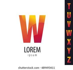 "Letter logo. The letter ""W"". Bright, stylish, minimalistic sign.  geometric alphabet (Latin) T, U, V, W, X, Y, Z"