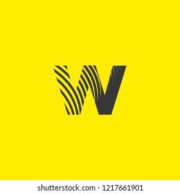 letter logo w lowercase, mutation of lines editable vector