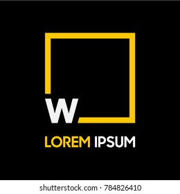 letter logo with yellow square, type font W