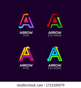 Letter A logotype with Arrows two directions concept, Financial Investment and Exchange logo, Reload Refresh Sync Symbol for your Business Company and Corporate identity Vector illustration