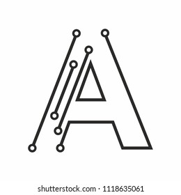 Letter A logotype design with Dot. Technology and Digital Connection concept. vector