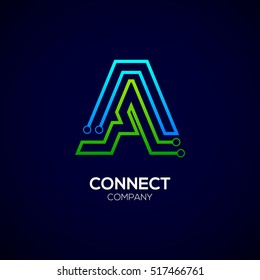 Letter A logotype green and blue color,Technology and digital abstract dot connection vector logo