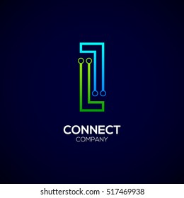 Letter I logotype green and blue color,Technology and digital abstract dot connection vector logo
