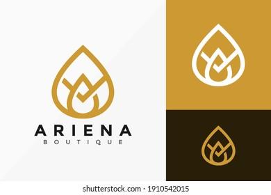 Letter A Lotus Boutique Logo Design, creative modern Logos Designs Vector Illustration Template