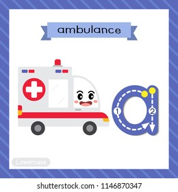 Letter A lowercase cute children colorful transportations ABC alphabet tracing flashcard of Ambulance Car for kids learning English vocabulary and handwriting Vector Illustration.