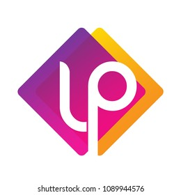 Letter LP logo with colorful geometric shape, letter combination logo design for creative industry, web, business and company.