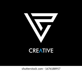 Letter LP logo design with triangle style