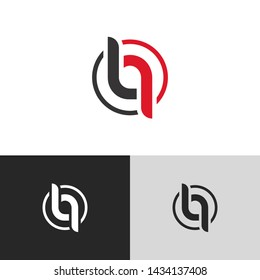 Letter lq linked lowercase logo design template elements. Red letter Isolated on black white grey background. Suitable for business, consulting group company.