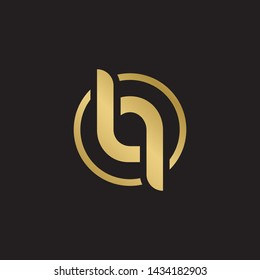 Letter lq linked lowercase logo design template elements. Gold letter Isolated on black  background. Suitable for business, consulting group company.
