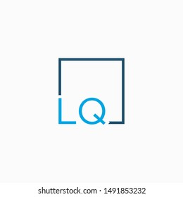Letter LQ Logo design with square frame line art. business consulting concept. studio,room,group icon. Suitable for business, consulting group company. - vector
