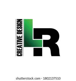 Letter LR simple monogram logo design vector