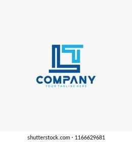 Letter LT initial logo design vector.