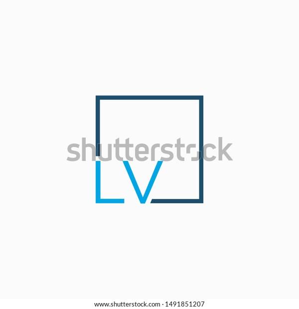 Letter Lv Logo Design Square Frame Stock Vector Royalty