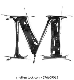 letter M. Alphabet symbol - grunge hand draw paint / vector illustration