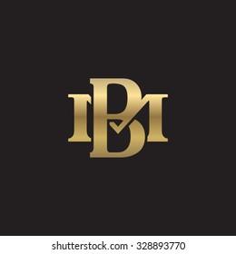 letter M and B monogram golden logo
