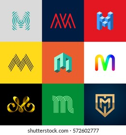 "Letter ""M"" big logo pack. Creative vector monograms. Striped, ribbon, colorful, isometric, linear, 3d logos.Eps10 format."