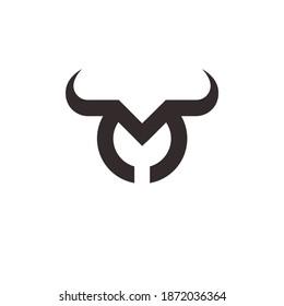 letter M bull logo vector
