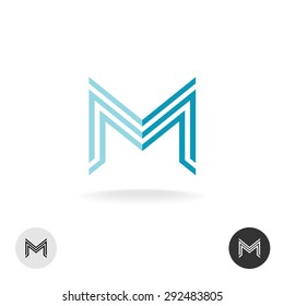 Letter M business linear style logo