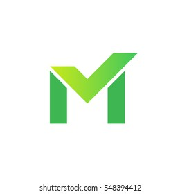 Letter M with check mark vector logo
