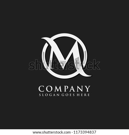 letter m chrome initial logo template stock vector royalty free