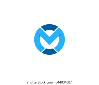 Letter M Circle Initial Logo Design Template Element