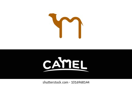 letter m combine with camel illustration logo template