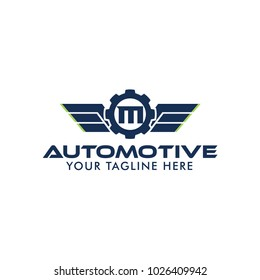 Letter M Creative Automotive Logo Design Template with wing symbol