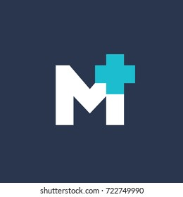 Letter M cross plus medical logo icon design template elements