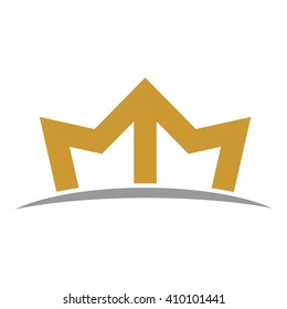 letter M and crown shape logo vector.