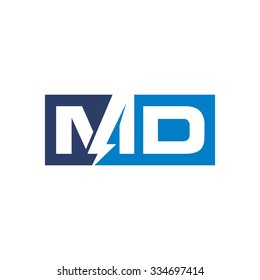 letter m and d logo template. electric logo vector.