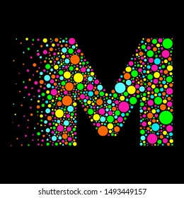 Letter M in Dispersion Effect, Scattering Circles/Bubbles,Colorful vector