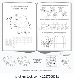 Letter M. Dot to dot educational game for kids.