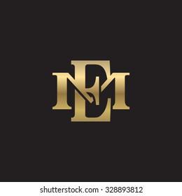 letter M and E monogram golden logo